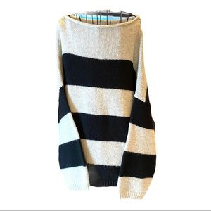 Ann Taylor black/white with silver thread sweater